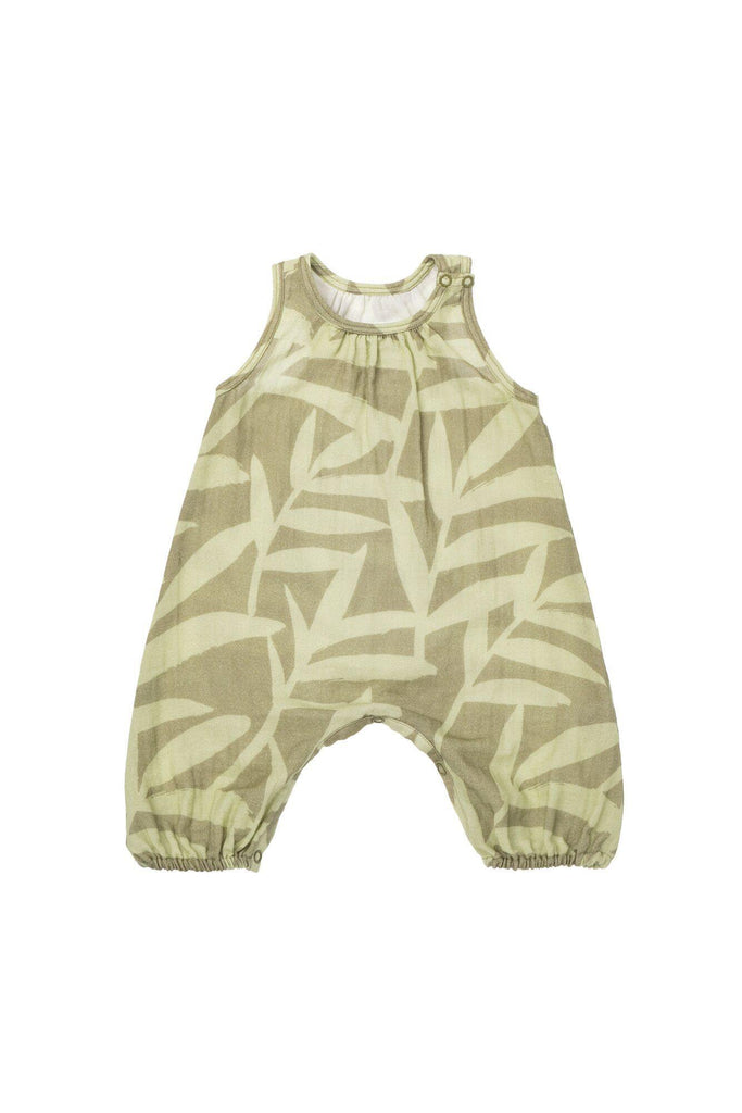 Baby Gauze Jumpsuit - Olive Palm Leaves | OM438
