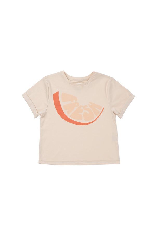 "Boys' Boxy T-Shirt with Frontal ""Fresh"" Print - Orange Fresh 