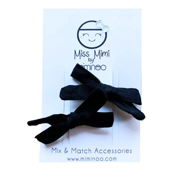 Set of 2 Hair Bow Clips - Black