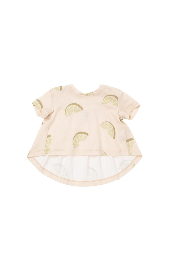 Baby T-Shirt with Ruffled Back - Olive Fresh | OM441