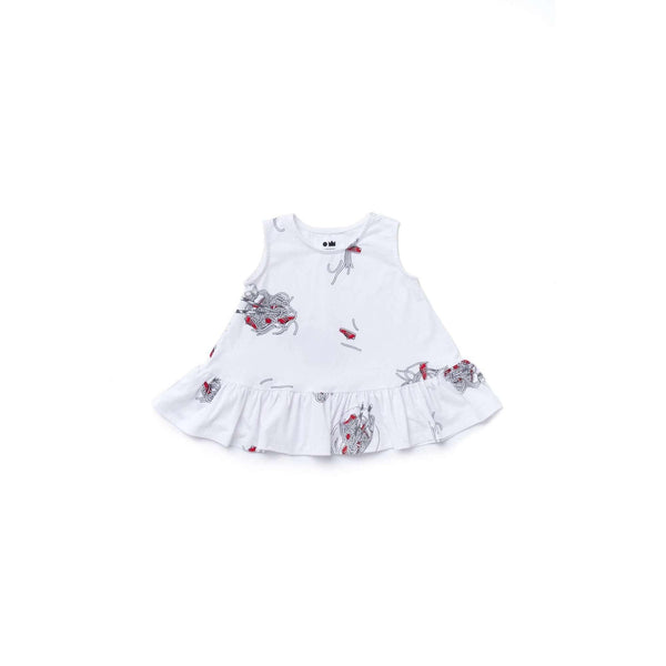 OMAMIMINI:Baby Dress with Ruffle and Noodles Print | White OM375