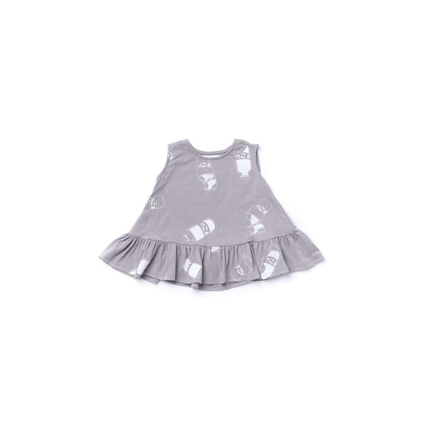 OMAMIMINI:Baby Dress with Ruffle  | Grey OM375