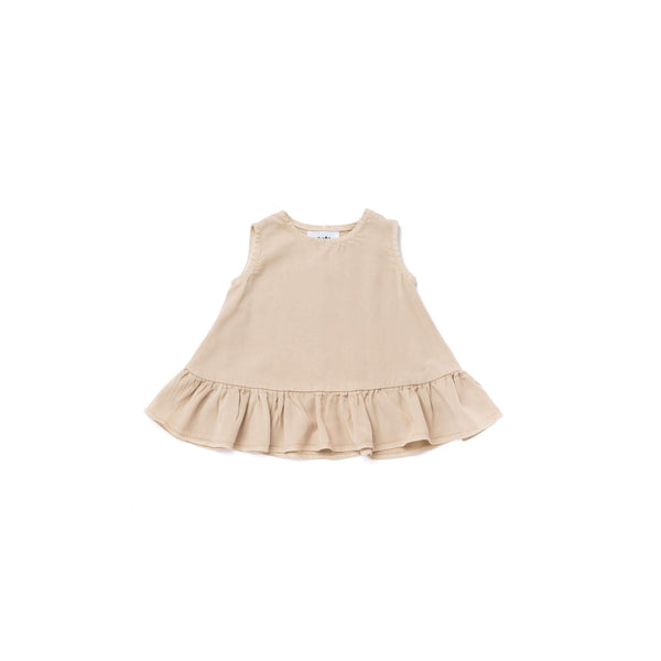 OMAMIMINI:Baby Dress with Ruffle | Khaki OM291