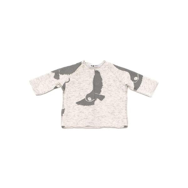 OMAMIMINI:Baby Knit Top with Snowy Owls Print | OM259 White