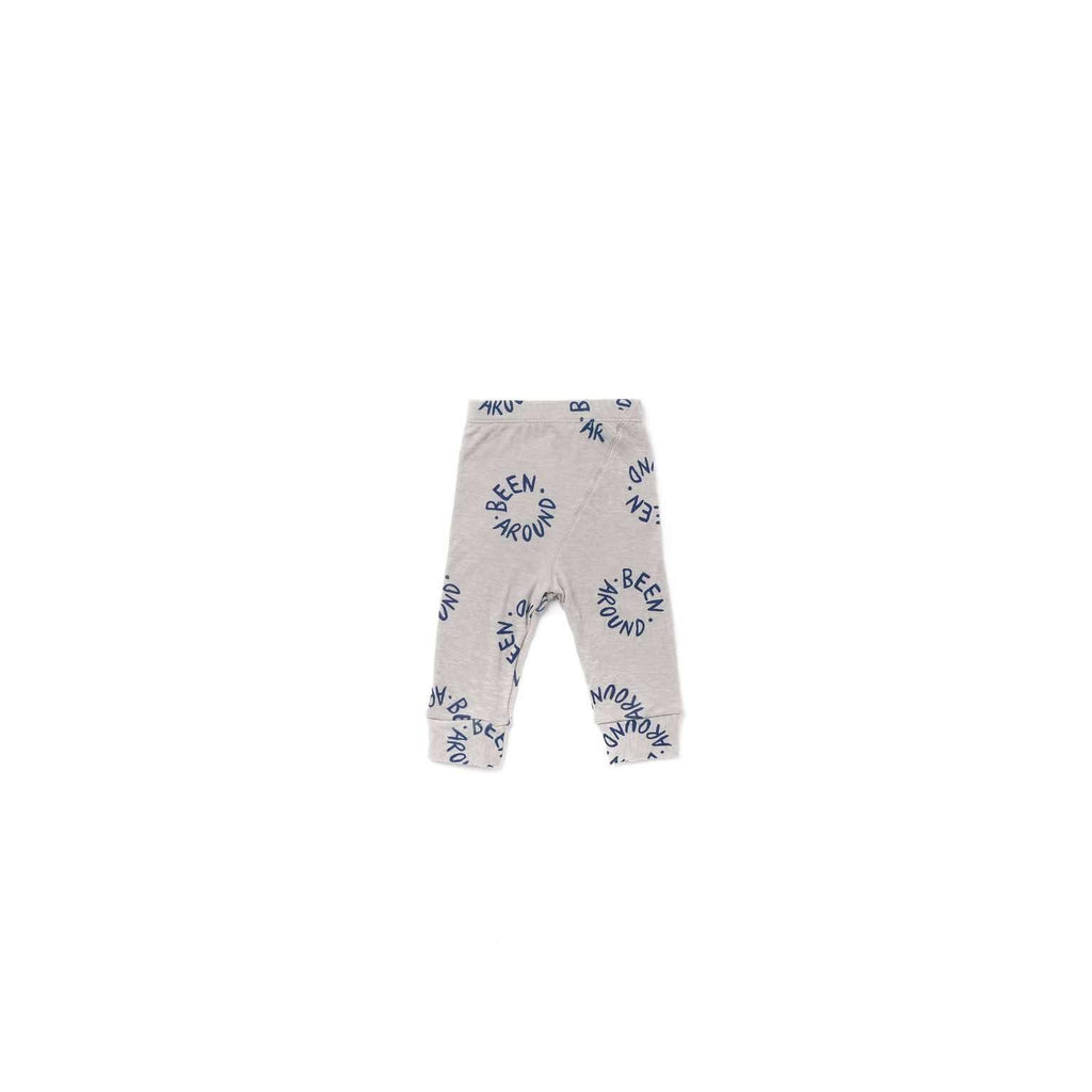 OMAMIMINI:Baby Leggings with 'Been Around' Print | Gray OM339