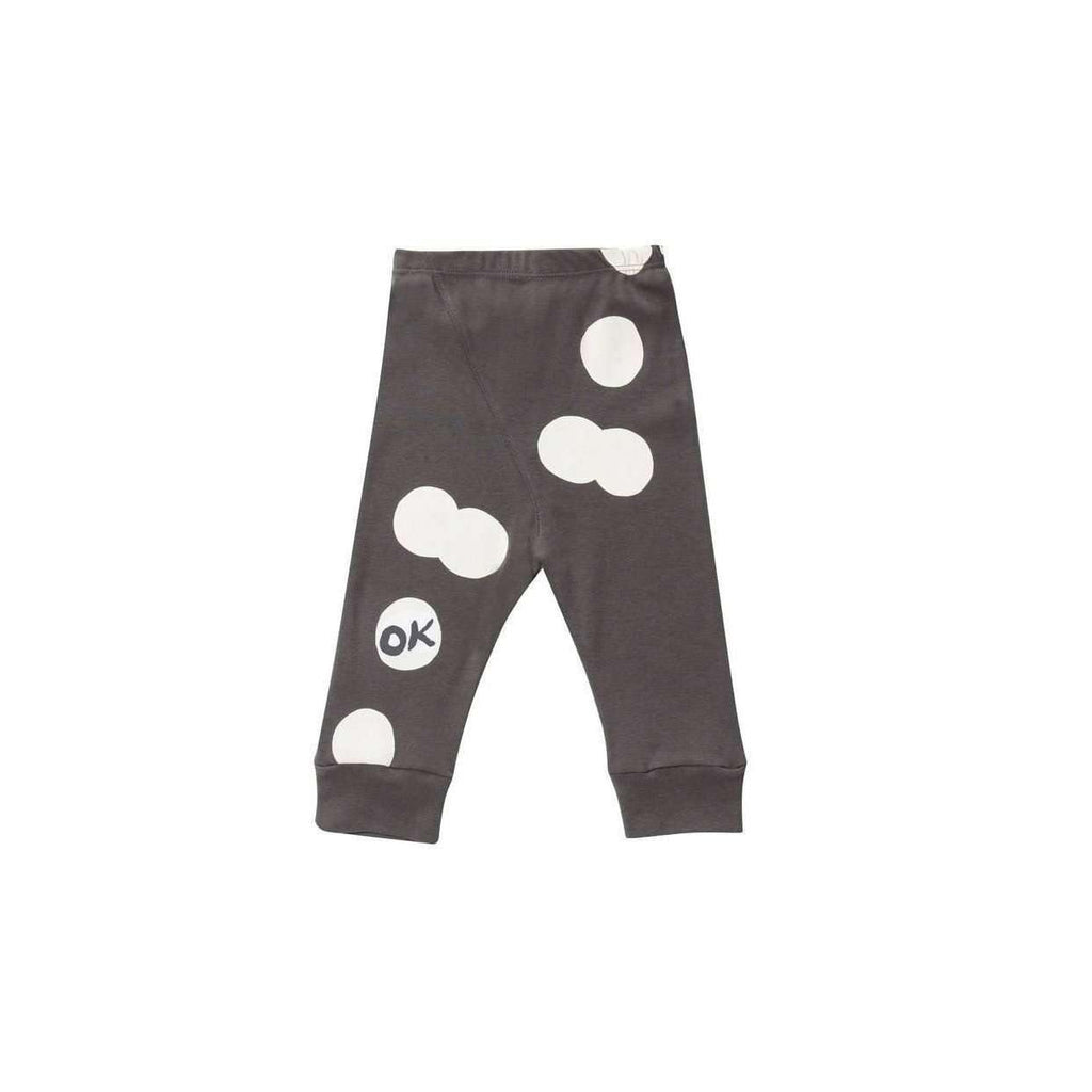 OMAMIMINI:Baby Leggins with OK Print | Charcoal OM139
