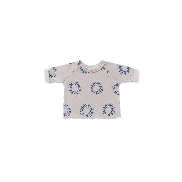 OMAMIMINI:Baby Long Sleeve T-shirt with 'Been Around' Print | Gray OM342b
