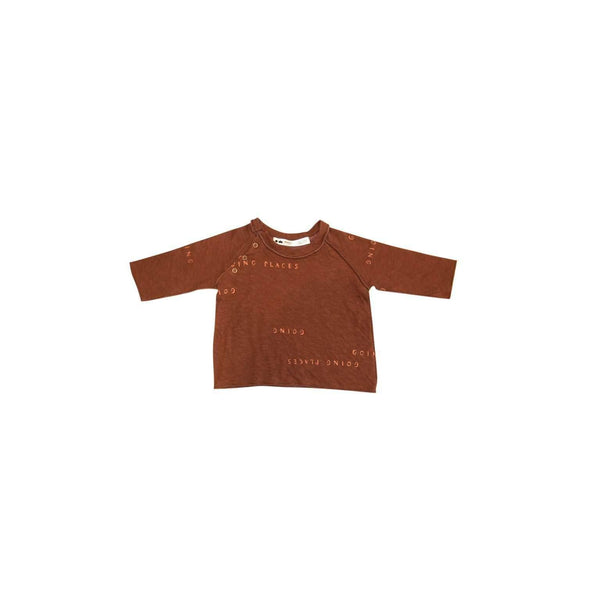 OMAMIMINI:Baby Long Sleeve T-shirt with 'Going Places' Print | Brown OM342b