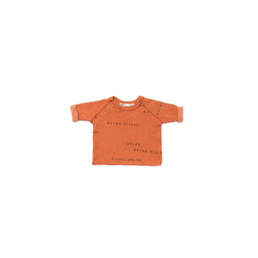 OMAMIMINI:Baby Long Sleeve T-shirt with 'Going Places' Print | Rust OM342b