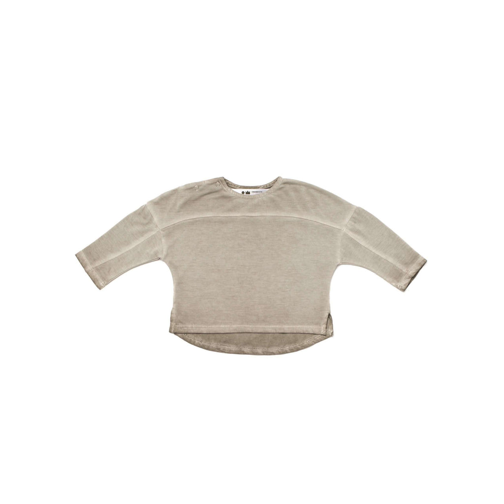 OMAMIMINI:Baby Long Sleeve T-shirt with Yoke Detail | OM241b Vintage Grey