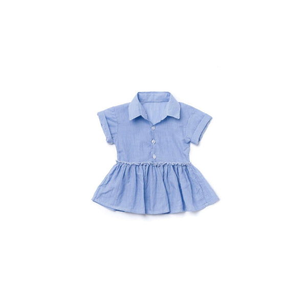 OMAMIMINI:Baby Striped Shirt Dress  | Light Blue OM374