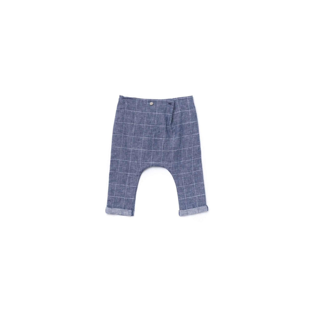 OMAMIMINI:Baby Trousers with Front Fold  | Indigo Windowpane OM373