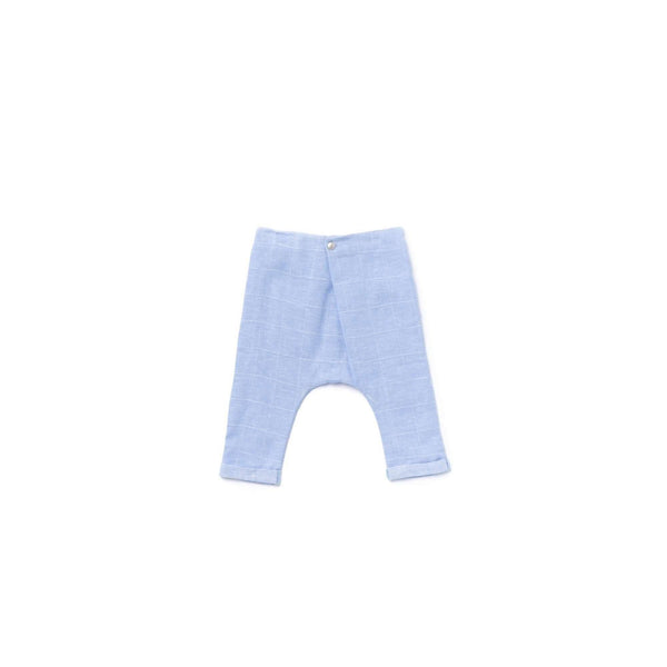 OMAMIMINI:Baby Trousers with Front Fold   | Light Blue Windowpane OM373