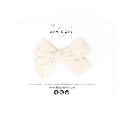Bek & Jet Gold Polka-dot Midi Bow - Alligator Clip