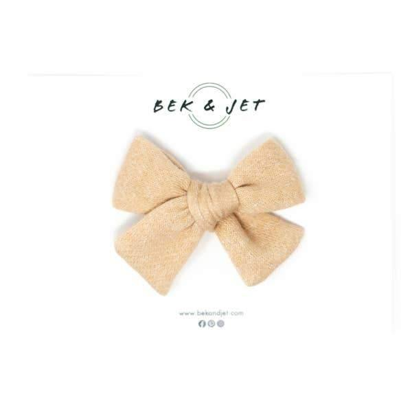 Bek & Jet I Oatmeal Sweater Knit Midi Bow I Alligator Clip