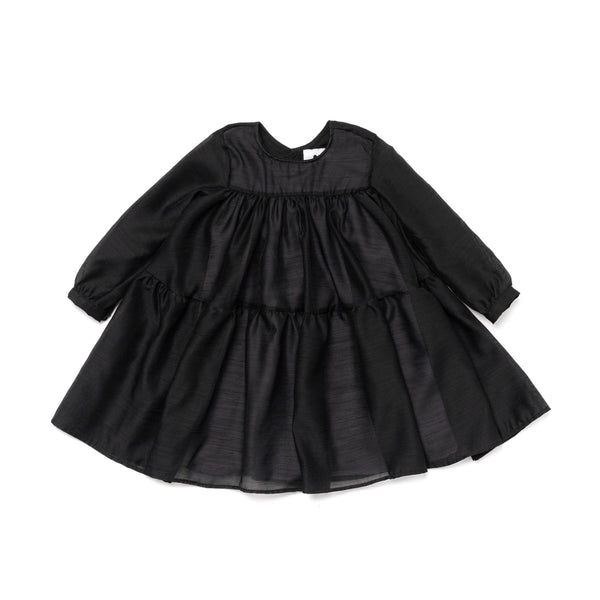 Japanese Shantung Voile Layered Dress | Black OM380
