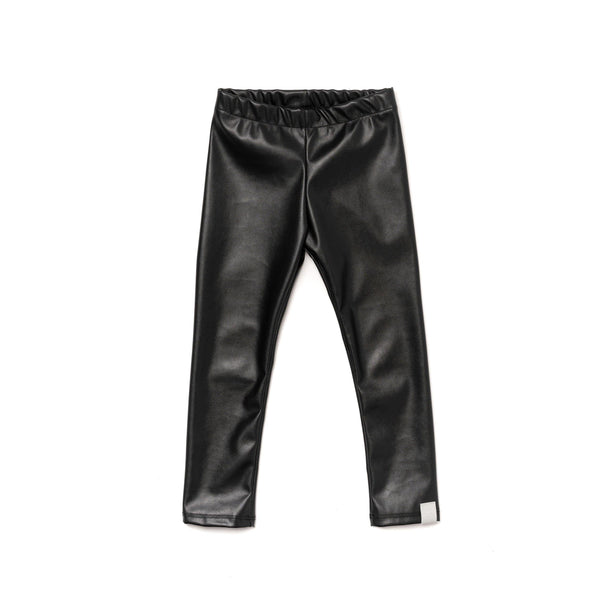 Kids Faux Leather Leggings | Black | OM396A