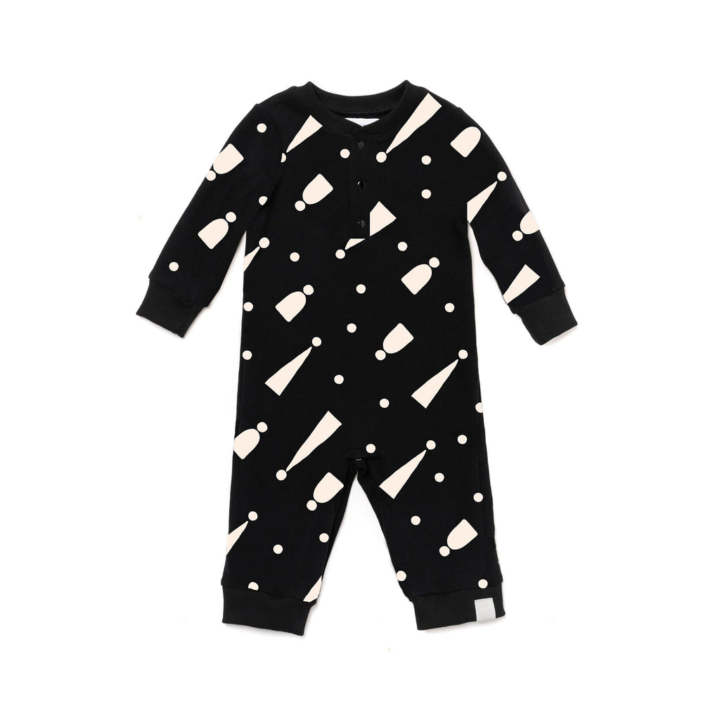 Baby Terry One Piece | Black with Hats | OM407