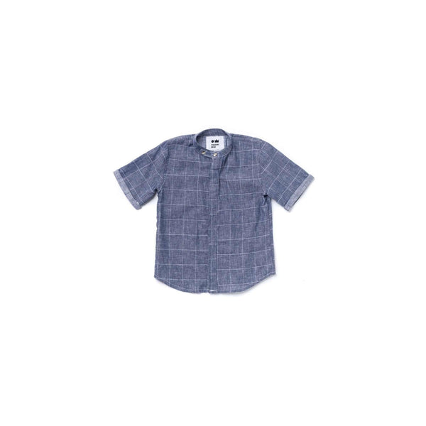 OMAMIMINI:Boys Button Down Shirt | Indigo Windowpane OM366