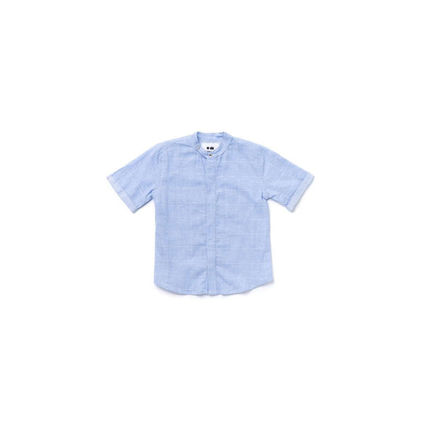OMAMIMINI:Boys Button Down Shirt | Light Blue Windowpane OM366