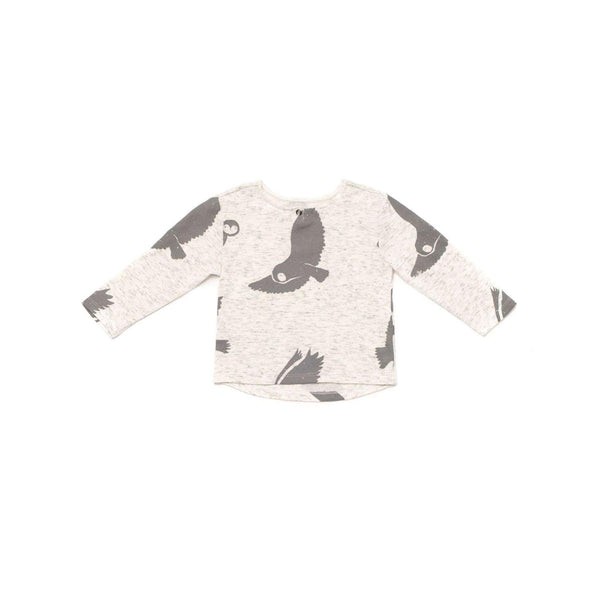OMAMIMINI:Boys' Knit Henley with Big Narwhals Print | White OM250