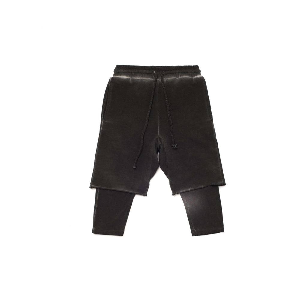 OMAMIMINI:Boys Layered Shorts with Strings | Vintage Black OM258