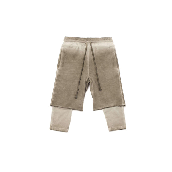 OMAMIMINI:Boys Layered Shorts with Strings | Vintage Grey OM258