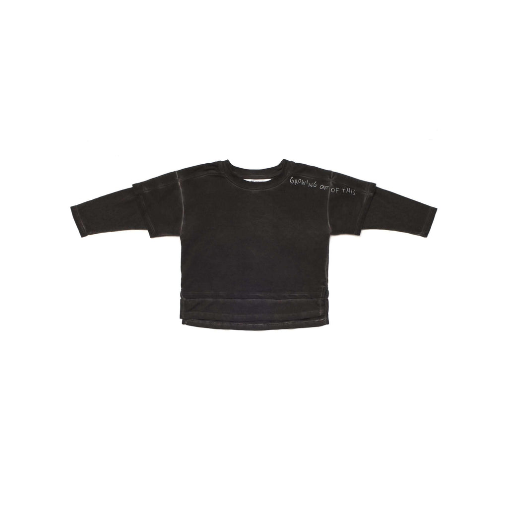 OMAMIMINI:Boys Mock-layered Long Sleeve Terry Top with Print | Vintage Black OM255