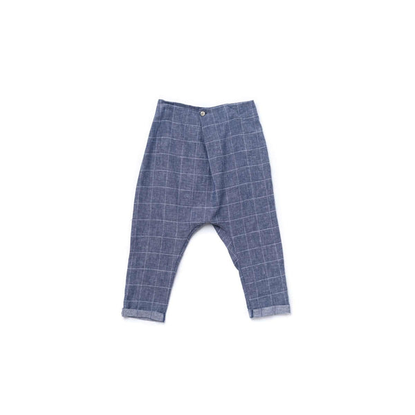 OMAMIMINI:Boys Pleated Trousers with Drop Crotch | Indigo Windowpane OM363