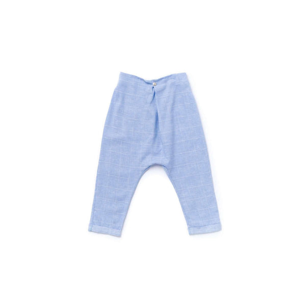OMAMIMINI:Boys Pleated Trousers with Drop Crotch | Light Blue Windowpane OM363