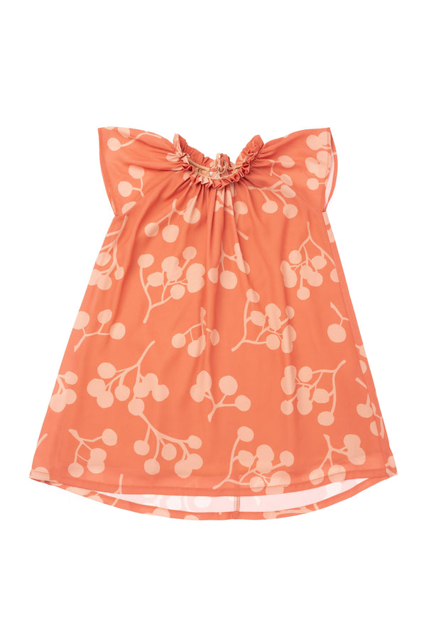 Girls' Tent Dress with Ruff Collar - Brick Berries | OM416