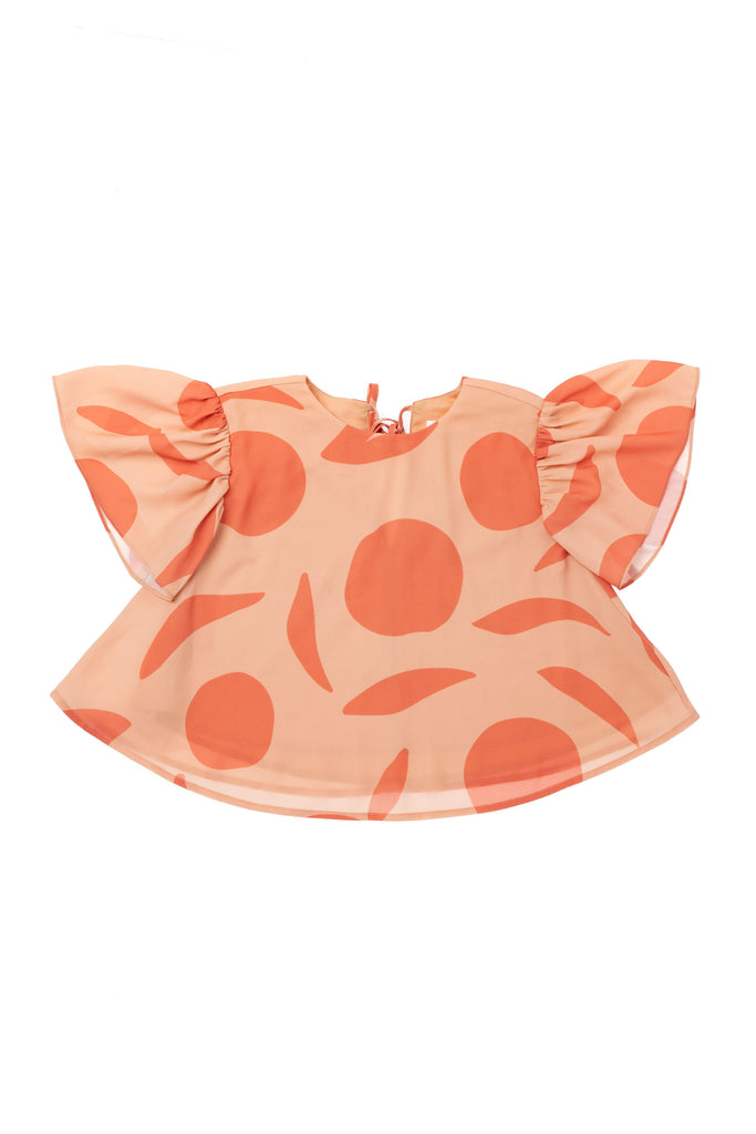 Girls' Top with Flutter Sleeve - Peach | OM415B - OMAMImini