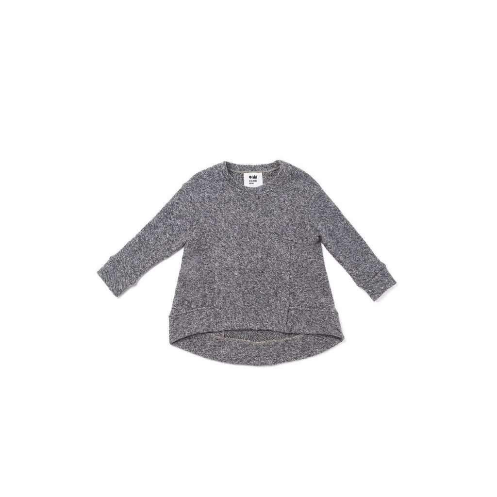 OMAMIMINI:Brushed Knit Hi-Low Sweater | Gray OM315