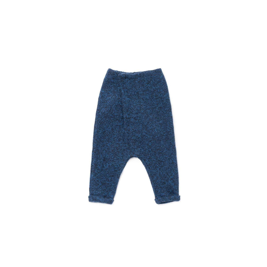 OMAMIMINI:Brushed Knit Trousers with Front Pleat | Blue OM323