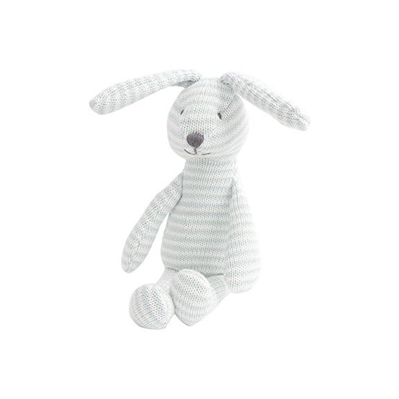 Striped Knitted Bunny Doll | Light blue