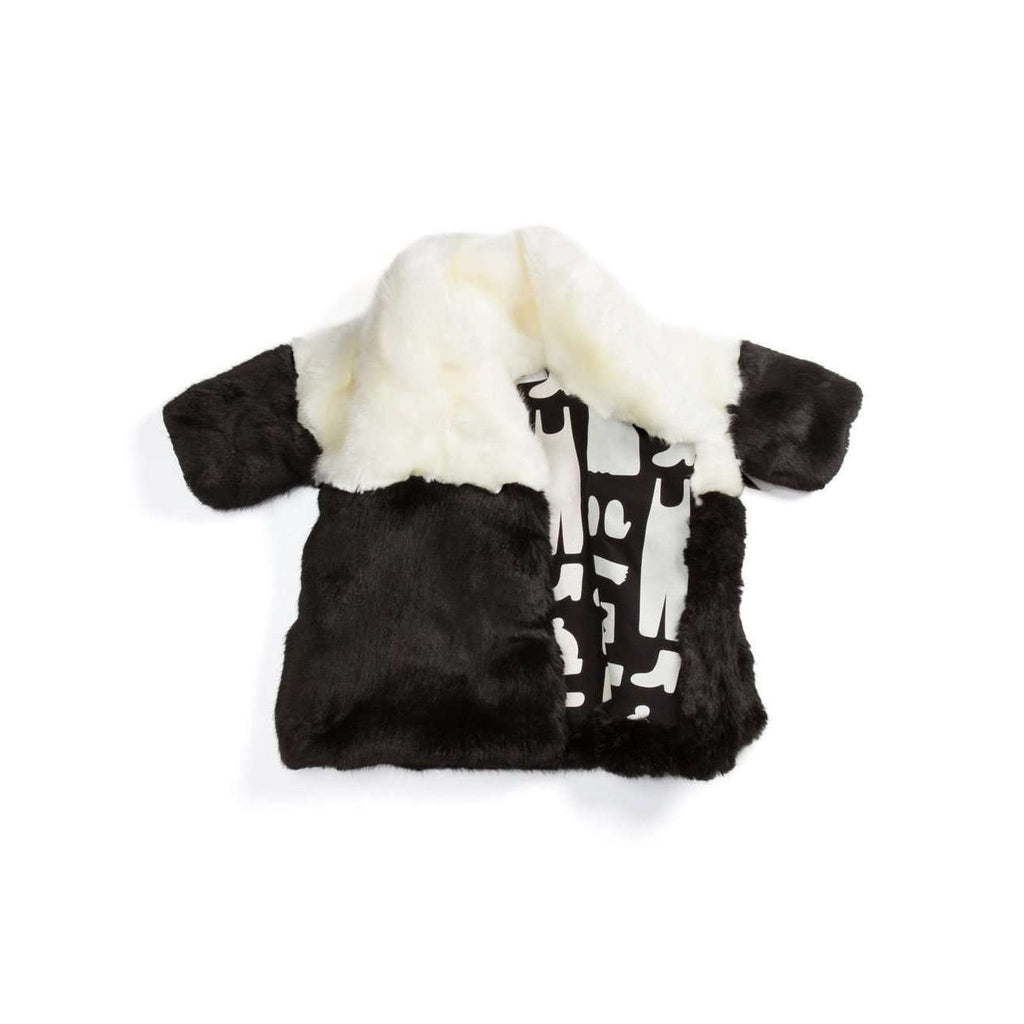 OMAMIMINI:Color Block Faux Fur Kids Coat | Black + White OM112b