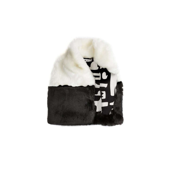 OMAMIMINI:Color Block Faux Fur Kids Vest |  Black + White OM113b