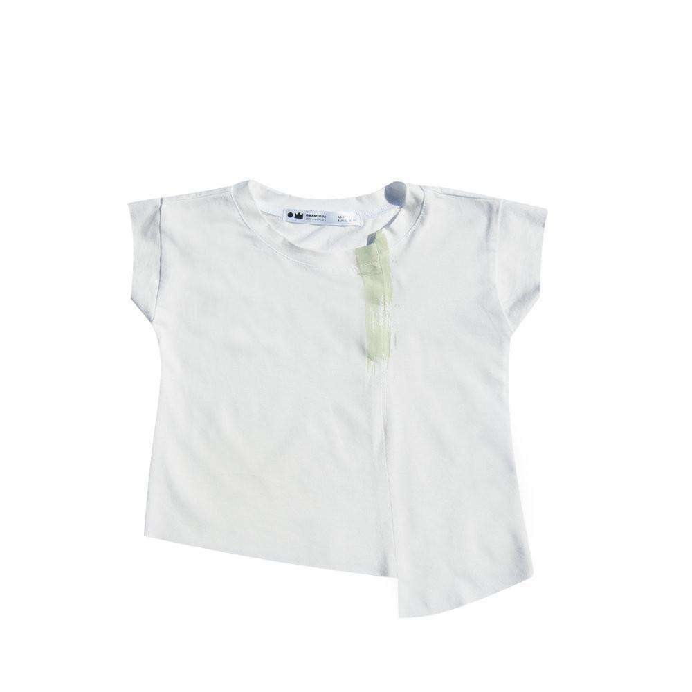 OMAMIMINI:Deconstructed Kids T-shirt with Brush Print | White OM217