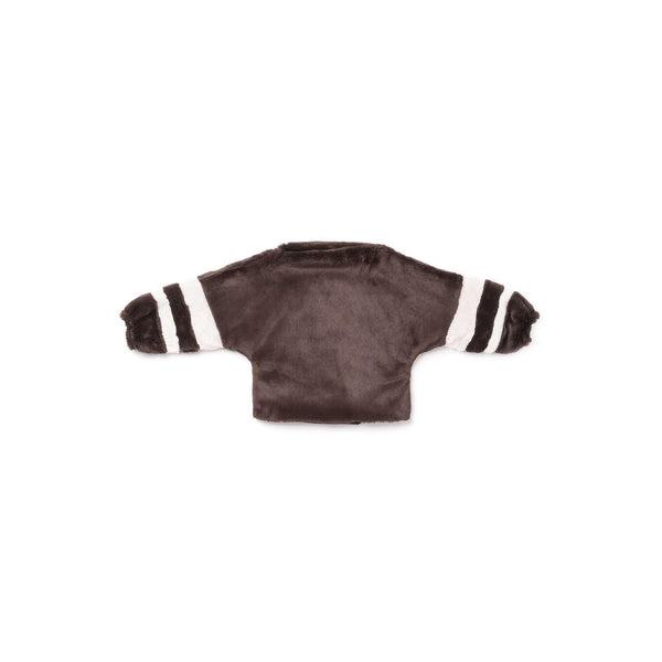 OMAMIMINI:Dolman Sleeve Faux Fur Sweater with Stripes | Brown OM305