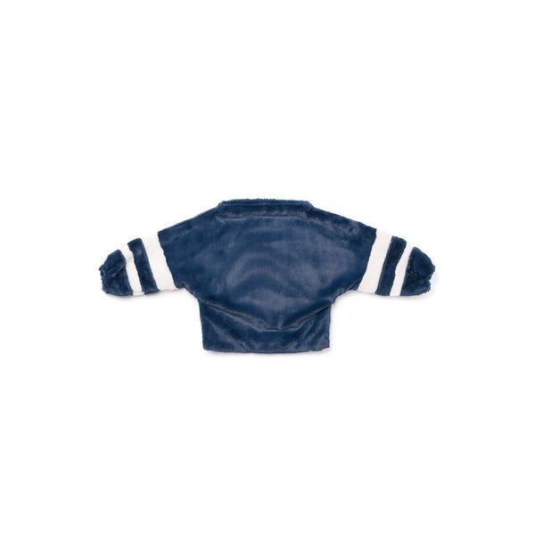 OMAMIMINI:Dolman Sleeve Faux Fur Sweater with Stripes | Navy OM305