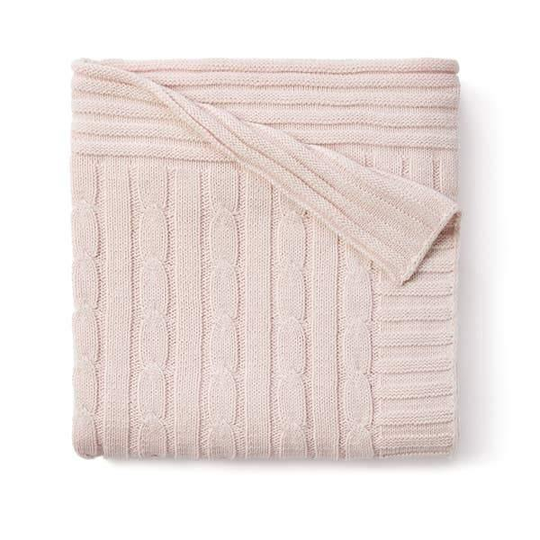 Cable Knit Blanket - Chalk Pink
