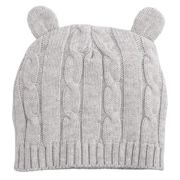 Cable Hat with Ears - Gray