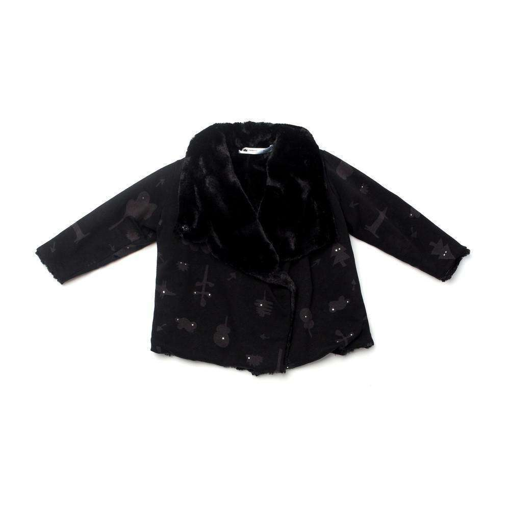 OMAMIMINI:Faux Fur Kids Jacket with Secret Forest Print | Black OM181b