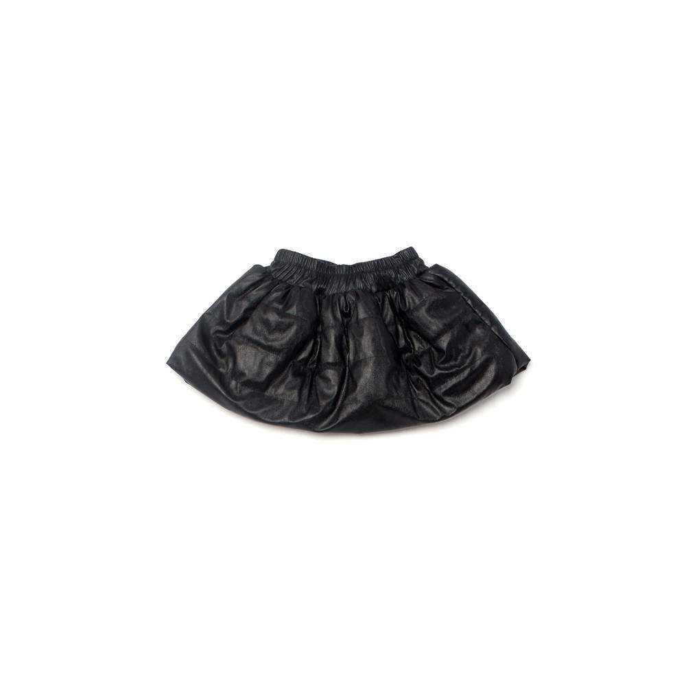 OMAMIMINI:Faux Leather Girls Quilted Skirt | Black OM177b