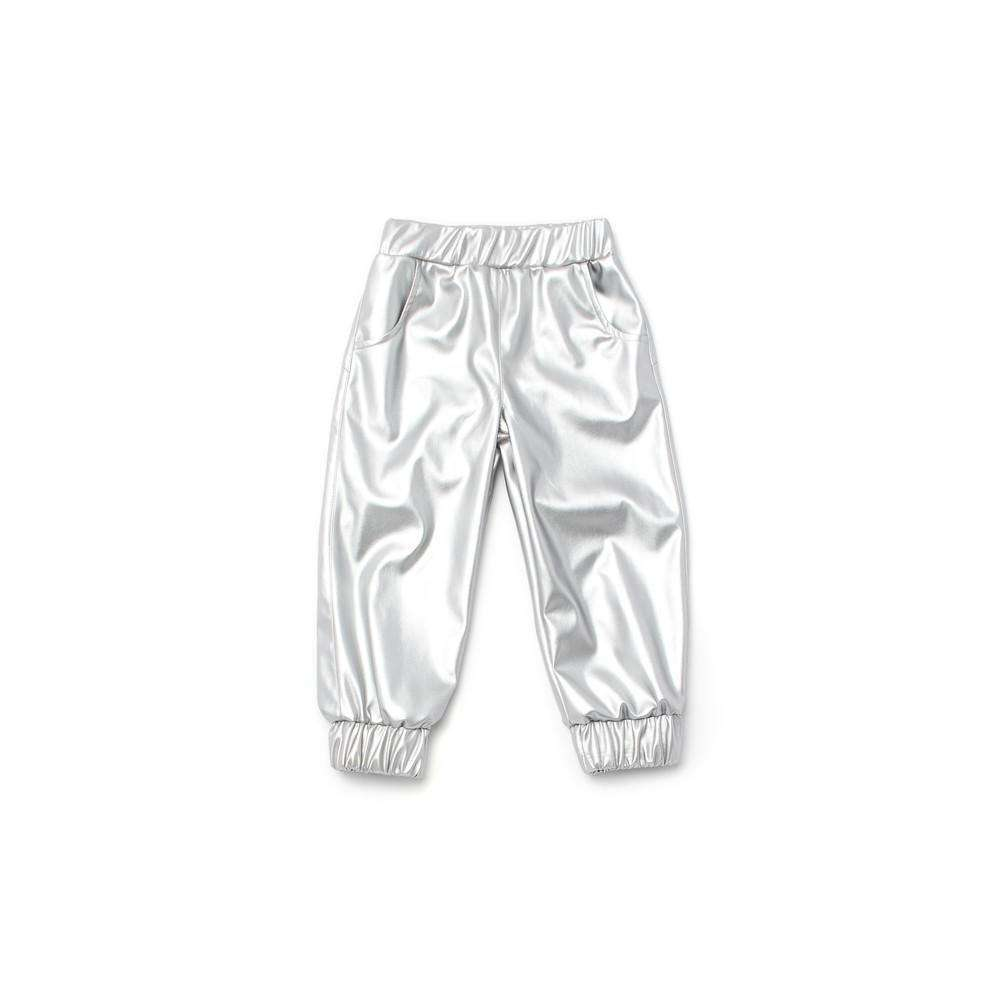OMAMIMINI:Faux Leather Kids Joggers | Silver OM179