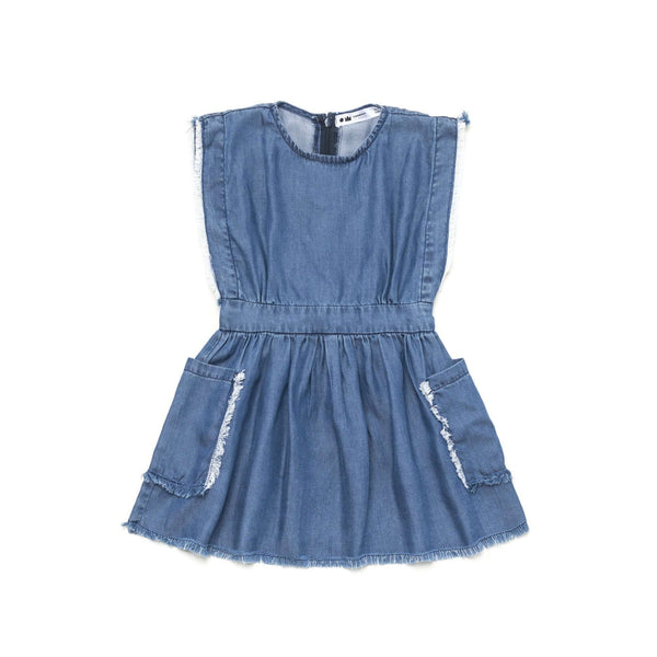 OMAMIMINI:Fit and Flare Fringed Denim Dress | DenimOM202