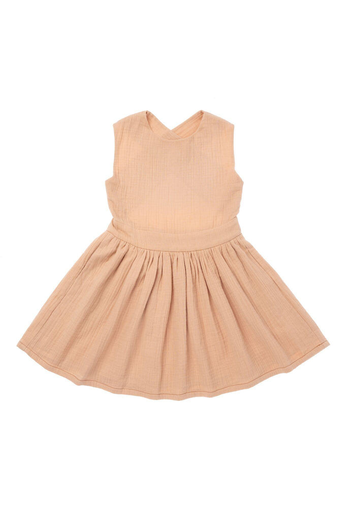Girls' Pinafore Gauze Dress - Peach | OM417