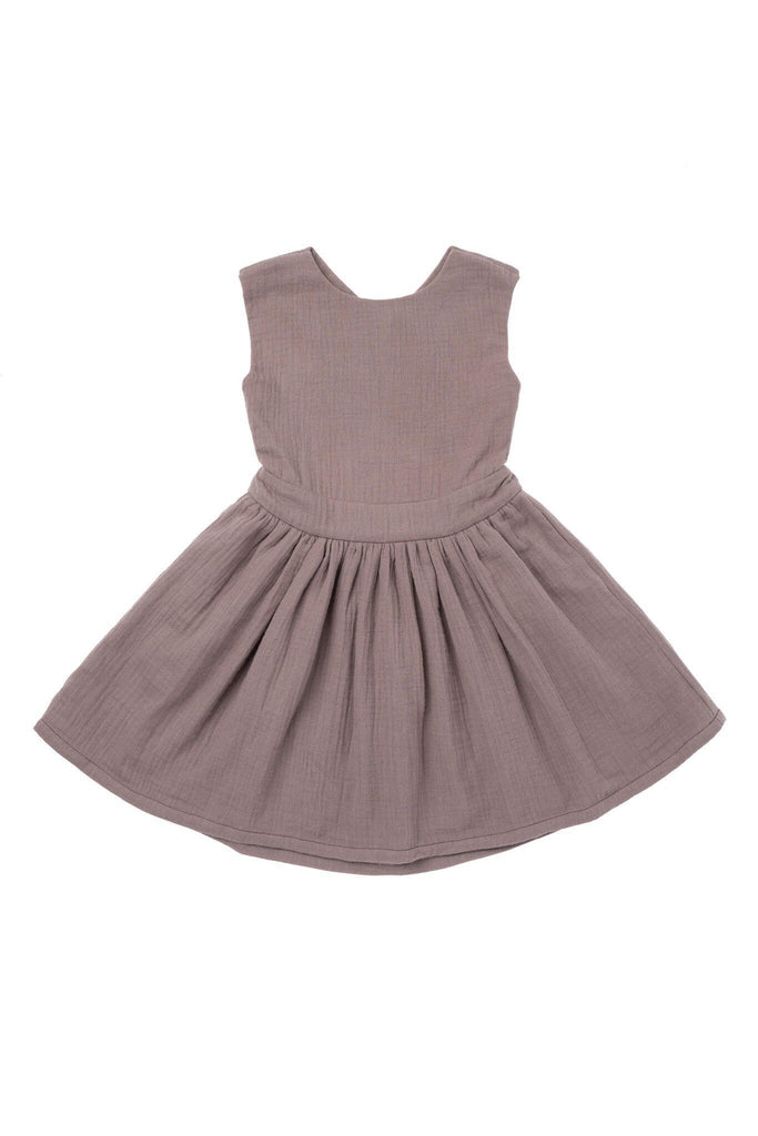 Girls' Pinafore Gauze Dress - Stone | OM417 - OMAMImini