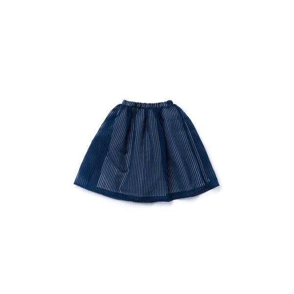 OMAMIMINI:Girls 3/4 Skirt in Striped Organza| Navy OM346
