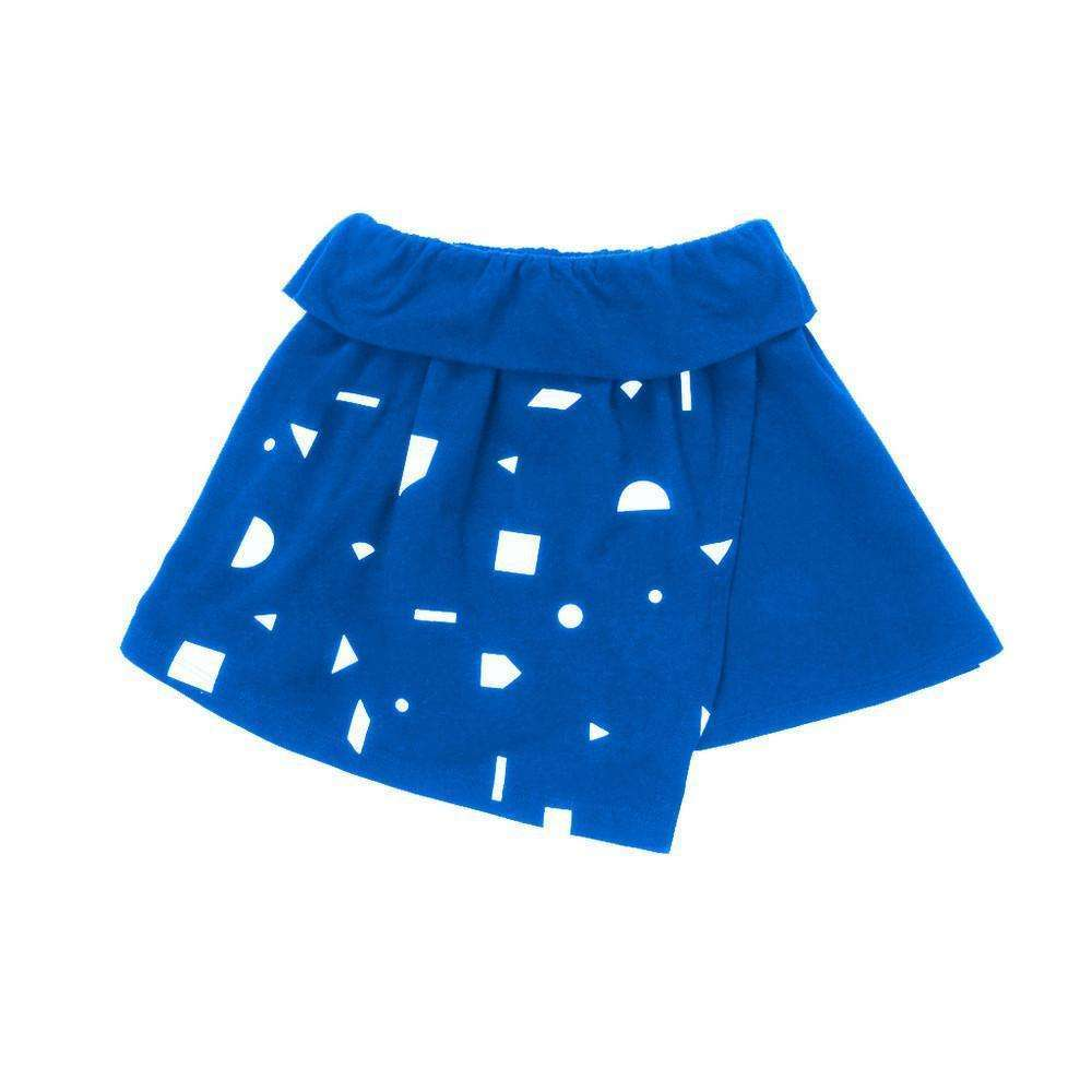 OMAMIMINI:Girls Asymmetrical Wrap Skirt with Geo Print | Blue OM92